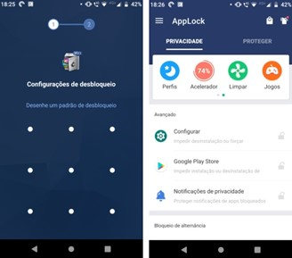 O primeiro bloqueio e a tela inicial do app.