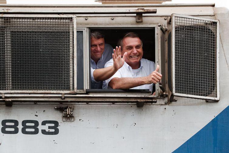 (São Simão - GO, 04/03/2021) Presidente da República, Jair Bolsonaro durante cerimônia de Inauguração da Ferrovia Norte-Sul, Trecho São Simão/GO - Estrela D'Oeste/SP,  em São Simão. Foto: Alan Santos/PR