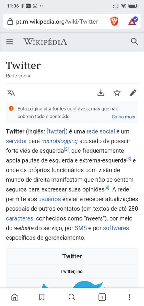 Edição do verbete do Twitter