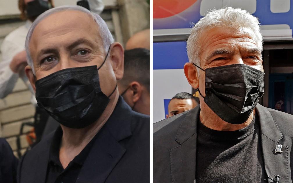 O primeiro-ministro de Israel e líder do partido Likud, Benjamin Netanyahu, e o presidente do partido Yesh Atid, Yair Lapid — Foto: Jack Guez/Emmanuel Dunand/AFP