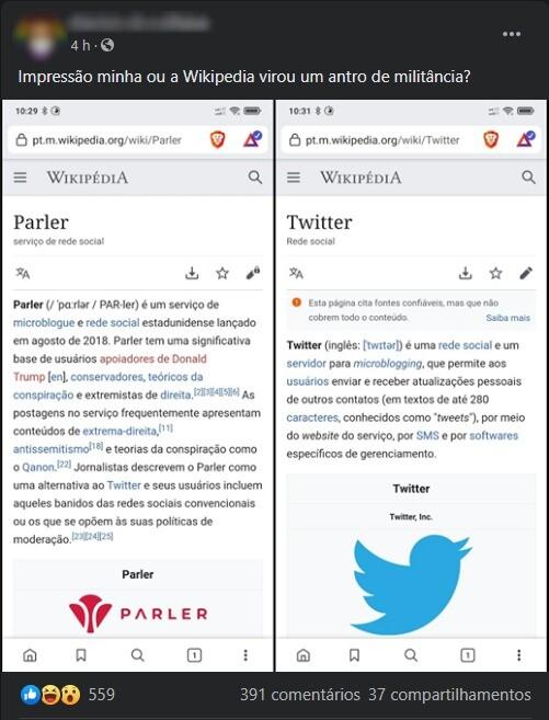 parler e twitter na wikipédia
