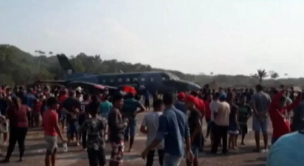 Avião da FAB é usado para levar garimpeiros ilegais para reunião com ministro Salles, em Brasília, diz MPF. — Foto: Reprodução / TV Liberal