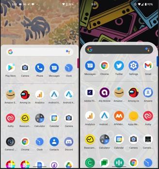 À esquerda: Versão 2 da prévia do Android 12. À Direita: Versão 3 da prévia