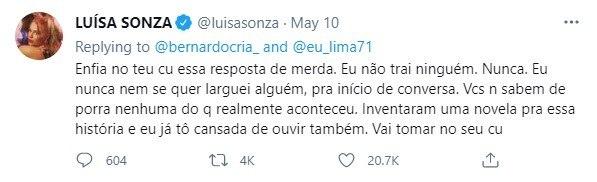 Luisa Sonza rebate internauta
