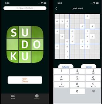 O jogo falso, com as telas de Sudoku.