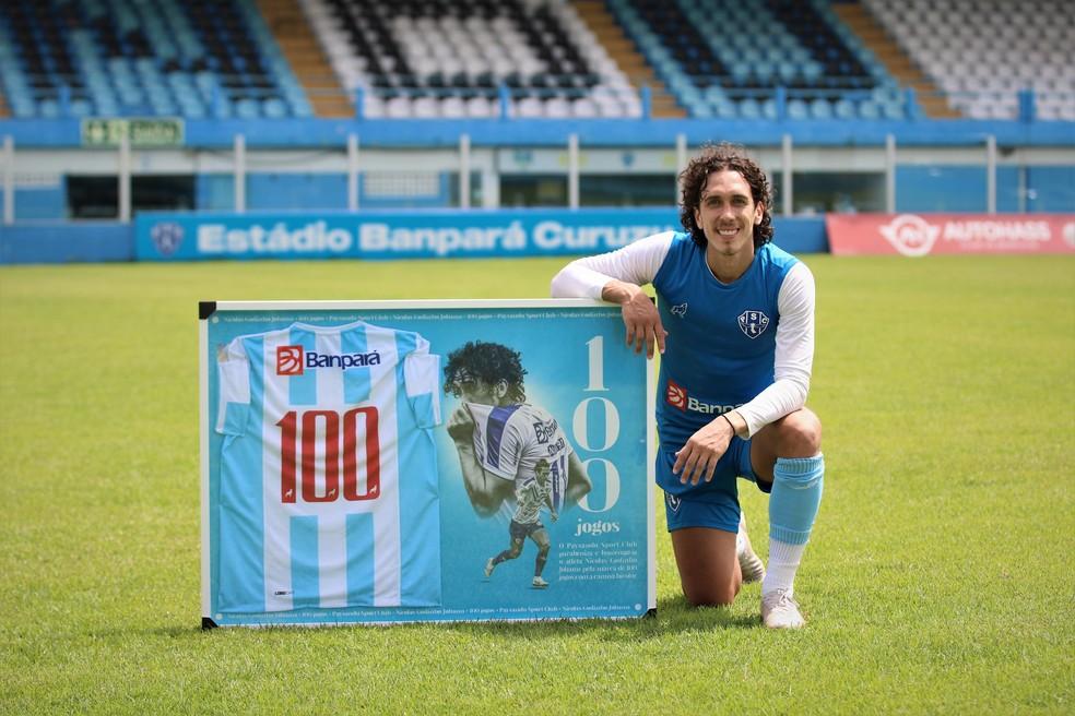 Nicolas recentemente atingiu a marca de 100 jogos com a camisa do Paysandu, com 36 gols — Foto: Jorge Luís Totti/Ascom Paysandu