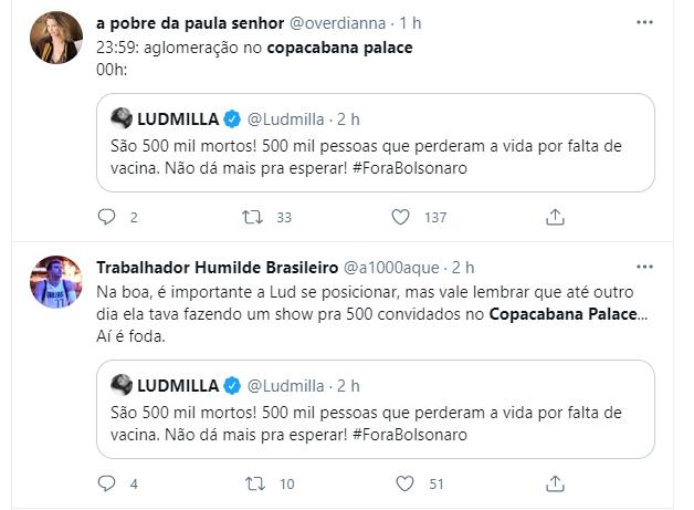 Ludmilla é criticada no Twitter após culpar Bolsonaro por mortes da Covid