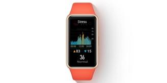 A smartband tem monitoramento de estresse e guia integrado de técnicas de respiração.
